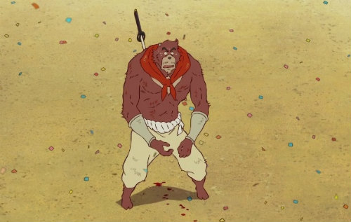 Kumatetsu received a powerful attack from Ichirouhiko. A sword is stuck in his back.