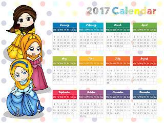 cute calendar islamic muslimah