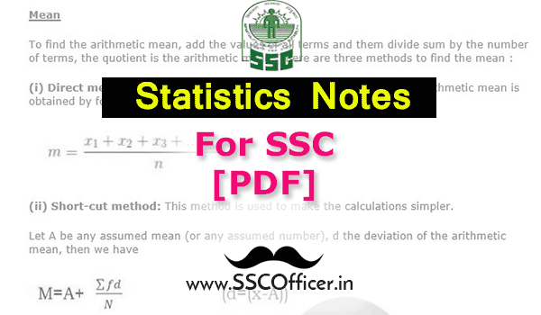 Statistics(Mean, Mode, Median) Notes For SSC Exams [PDF