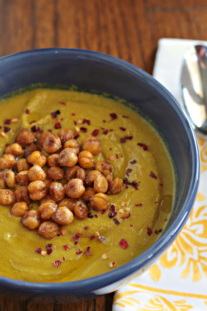moroccan golden soup with crispy chickpeas