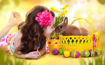 cute girl with bunny in basket