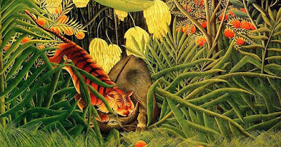 Detail from Henri Rosseau, 'Struggle between a tiger and a bull', c.1900.