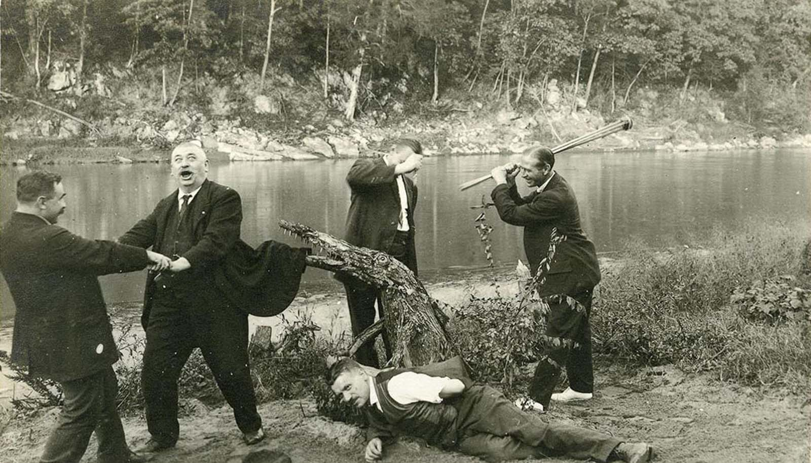 German internees playfully stage an