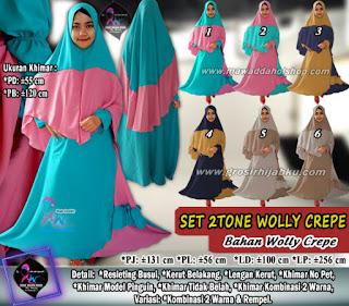 Gamis wollycrepe 2 tone yang dijual satu set hijab syar'i