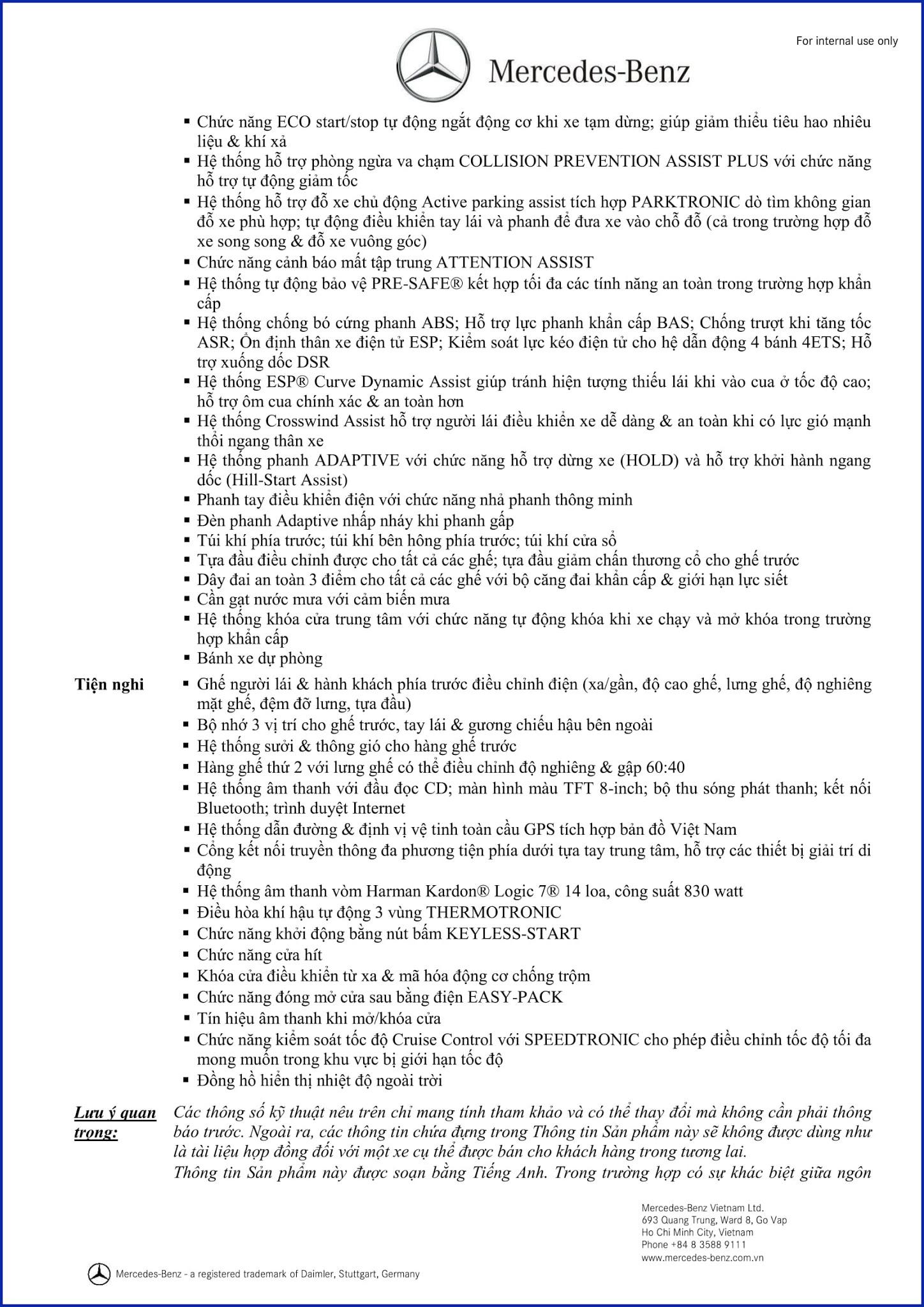 Bảng thông số kỹ thuật Mercedes AMG GLE 43 4MATIC Coupe 2017 tại Mercedes Trường Chinh