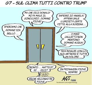 g7, taormina, trump, clima, accordo sul clima, cambiamenti climatici,  vignetta, satira