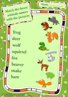 forest animals vocabulary matching worksheet
