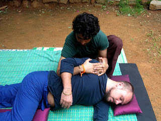 Thai Massage with client in side lying position