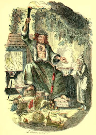 Ghost of Christmas Present by John Leech   from A Christmas Carol by Charles Dickens   (1920 reprint of original 1843 edition)