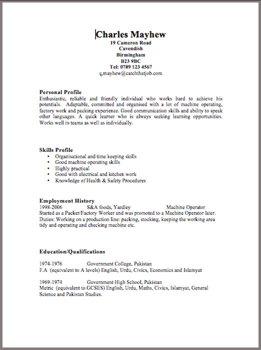 Returning to work: Sample CV template and guide