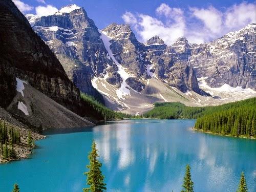 Gambar Pemandangan Alam Terindah di Dunia Danau Gunung Salju Hutan Pinus