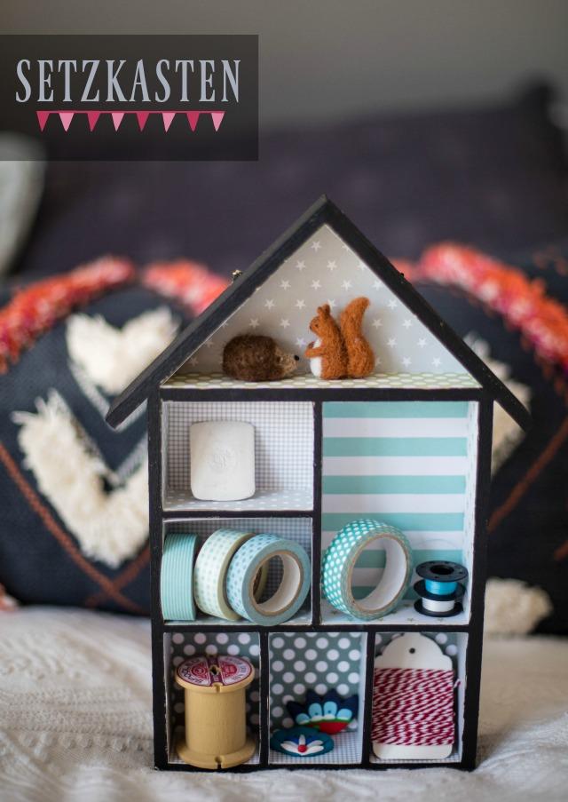 bemalter Setzkasten aufgehübscht mit Hilfe von Stylefix und Papier