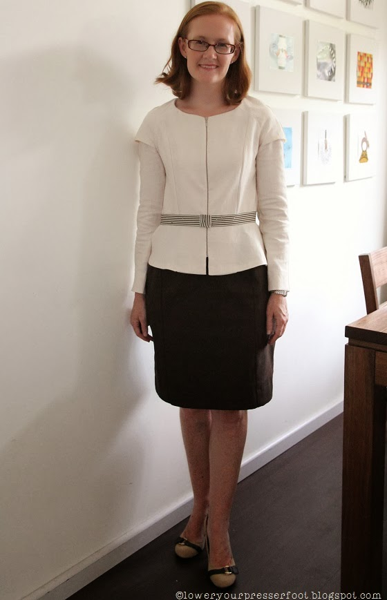 brown pencil skirt and cream jacket
