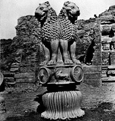 The original lion capital of Ashoka found in Sarnath India