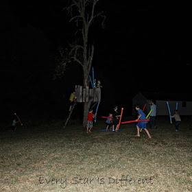 Pool Noodle and Glowstick Nighttime Games