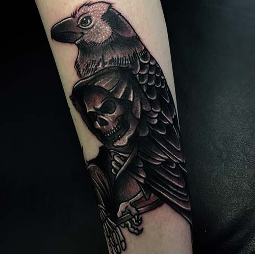 grim reaper tattoos with raven azrail dövmeleri