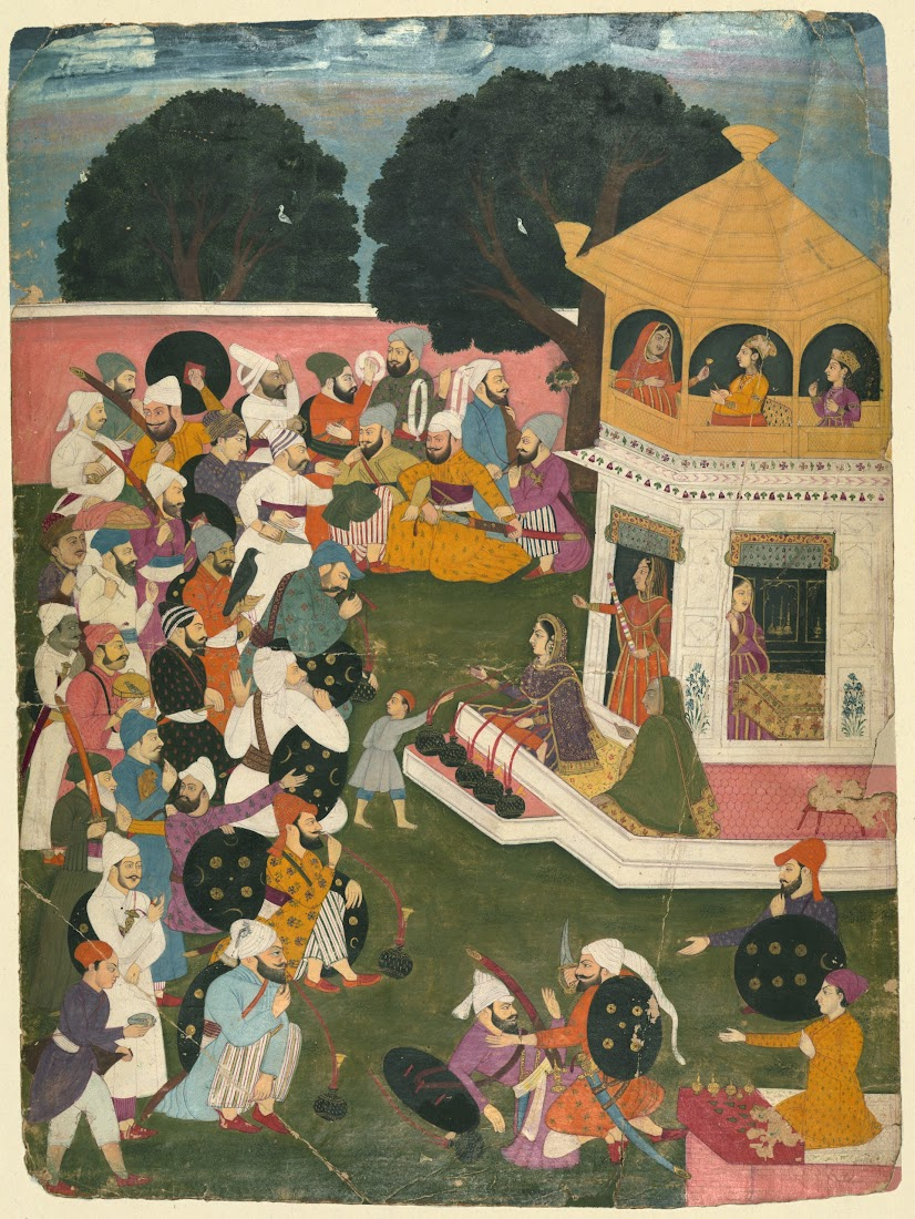 Gathering of Pleasure-Seeking Men Outside a Pavilion, Where a Number of Women Sit - Miniature Painting, India, Eighteenth Century