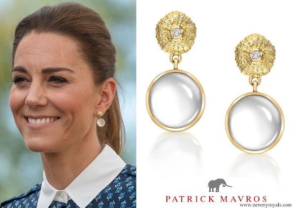 Kate Middleton wore Patrick Mavros Ocean Tides Milky Quartz earrings