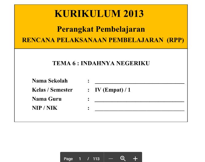 RPP Kurikulum 2013 SD Kelas 4 Tema 6 Indahnya Negeriku Revisi