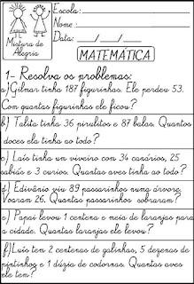 Atividade matemática problemas