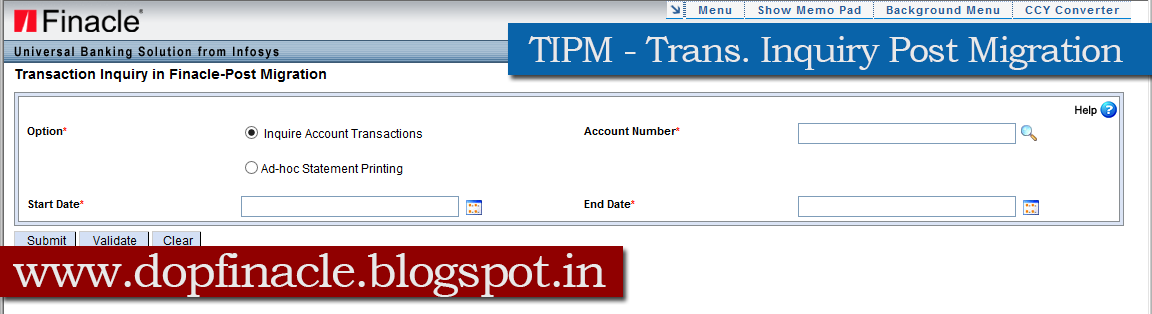 DOP Finacle : TIPM Overview - Transaction Inquiry in Post