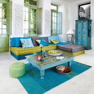 Sala en verde y turquesa
