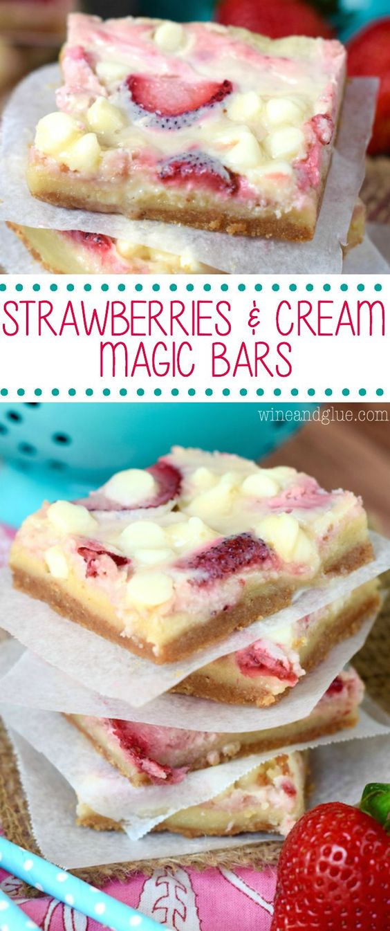 Strawberries And Cream Magic Bars