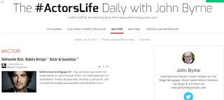 """John Byrne, publica la entrevista de Belmonte Arte en el periódico londinense """"The #ActorsLife Daily"""" (link)"""