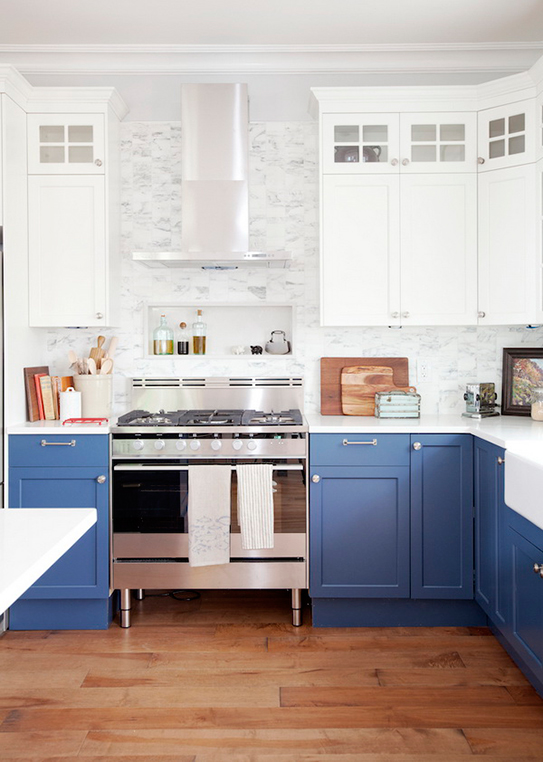 Two Tone Cabinets In A Galley Kitchen