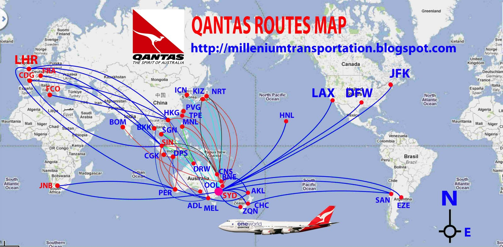 Qantas Route Map australian airlines: Qantas routes map