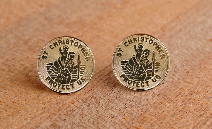 Hand-Crafted Jewelry From M Ference & Co.'s Timeless Engravings Saint Christopher earrings