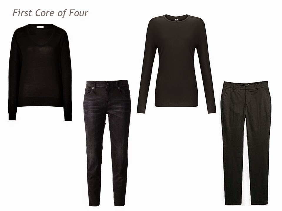 A core of 4 in black: v-neck sweater, jeans, tee shirt and trousers