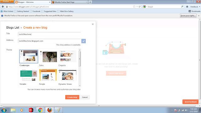 create blogger website