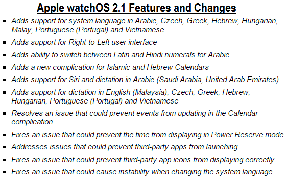 Apple watchOS 2.1 (13S661) Final Features and Changes