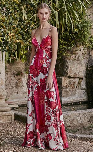 vestido largo estampado floral rojo Dolores Promesas Heaven