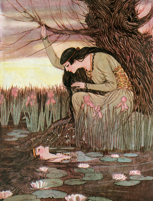 Illustration by Elenore Abbott for The Marsh King's Daughter by Hans Christian Andersen, 1922