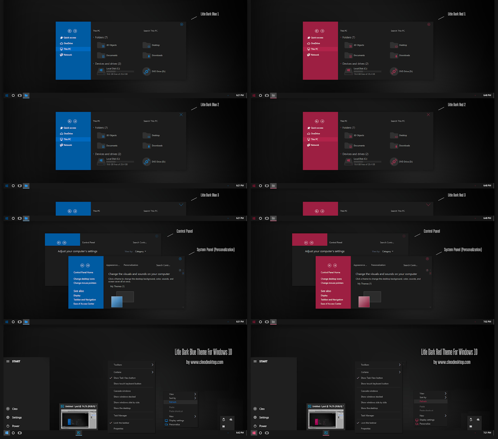 Litle Dark Blue And Red Theme Windows10 November 2019 Update 1909