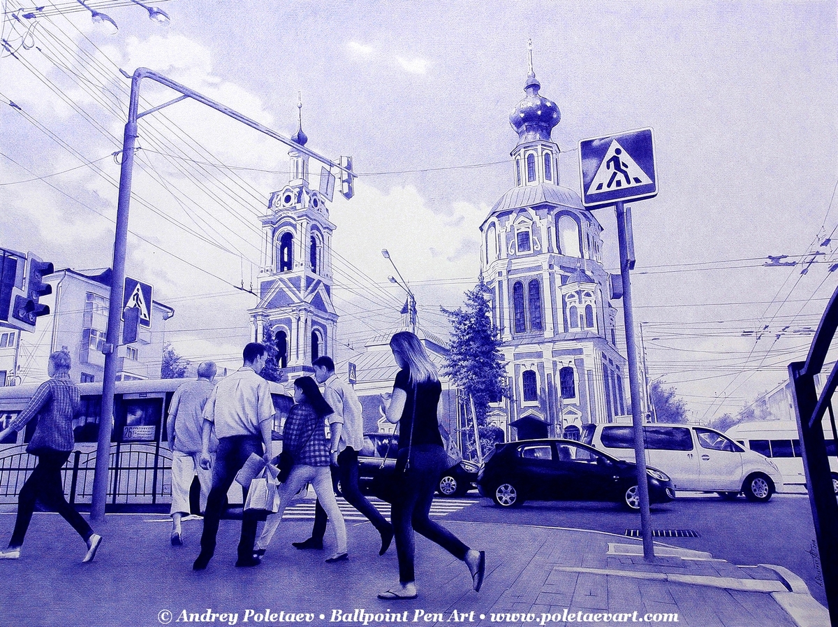 10-Pedestrian-Crossing-Andrey-Poletaev-Detailed-Urban-Drawings-achieved-with-a-Ballpoint-Pen-www-designstack-co