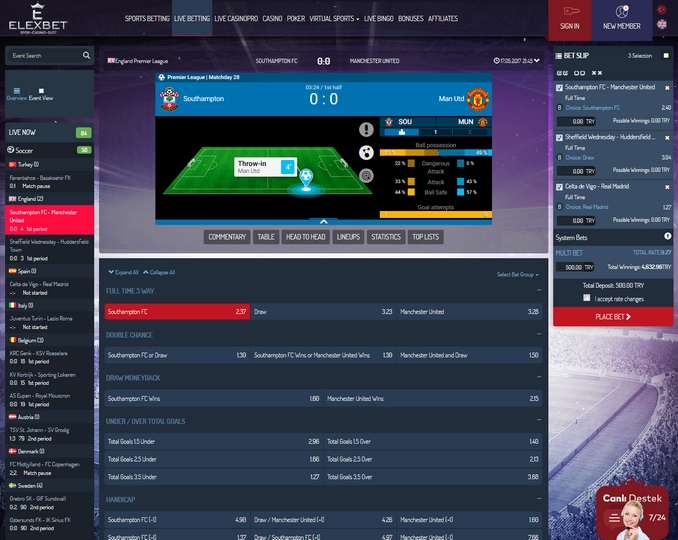 Elexbet Live Betting Screen