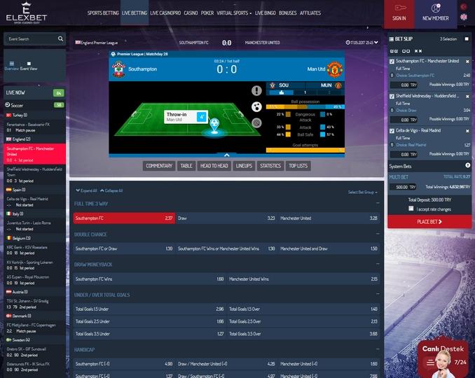 Elexbet Live Betting Screen