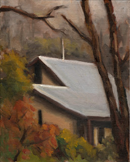 Oil painting of the roof of a mud-brick house surrounded my eucalypts.