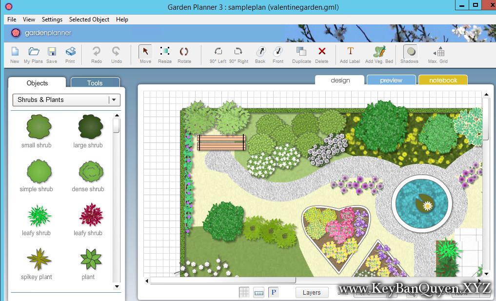 Garden Planner 3.6.37 Full Key Download, Phần mềm thiết kế nhà vườn