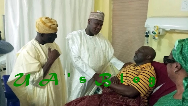 Dogara, House leaders visit Dino Melaye at National Hospital (photo)