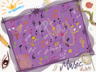 music, music madness, music notes, music symbols, sketch, drawing, The Book Portal, art, concept art