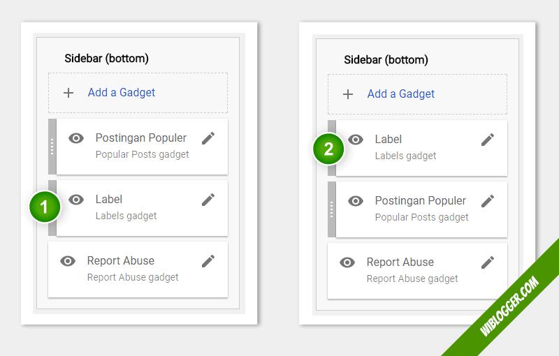 cara mengubah posisi widget blogger