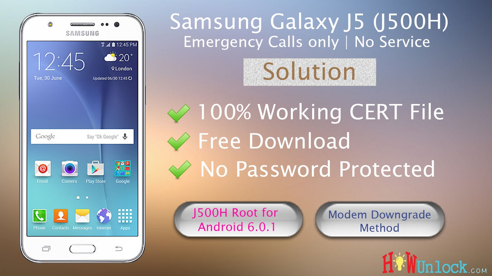 Samsung Galaxy J5 J500H Emergency Calls only | No Service