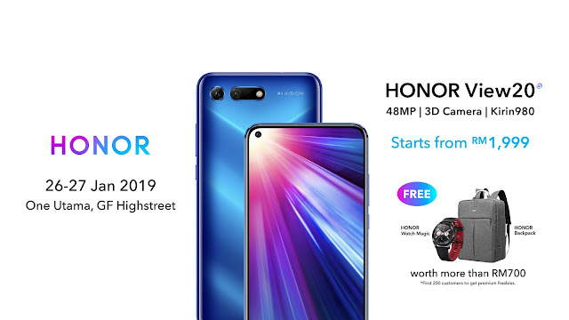 Honor View20 Available in Malaysia on 26 January 2019