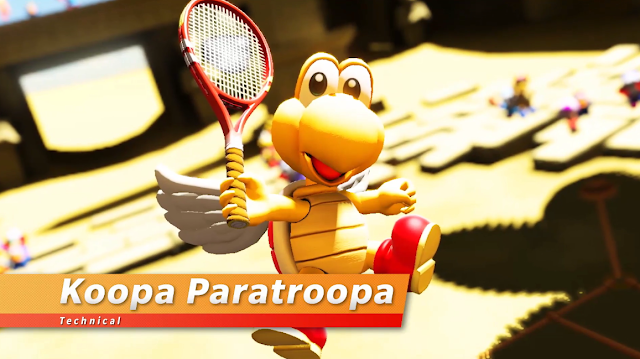 Mario Tennis Aces Koopa Paratroopa DLC technical character