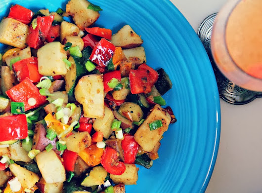 Sunday Brunch: Vegetarian Hash with Basil Vinaigrette Dressing