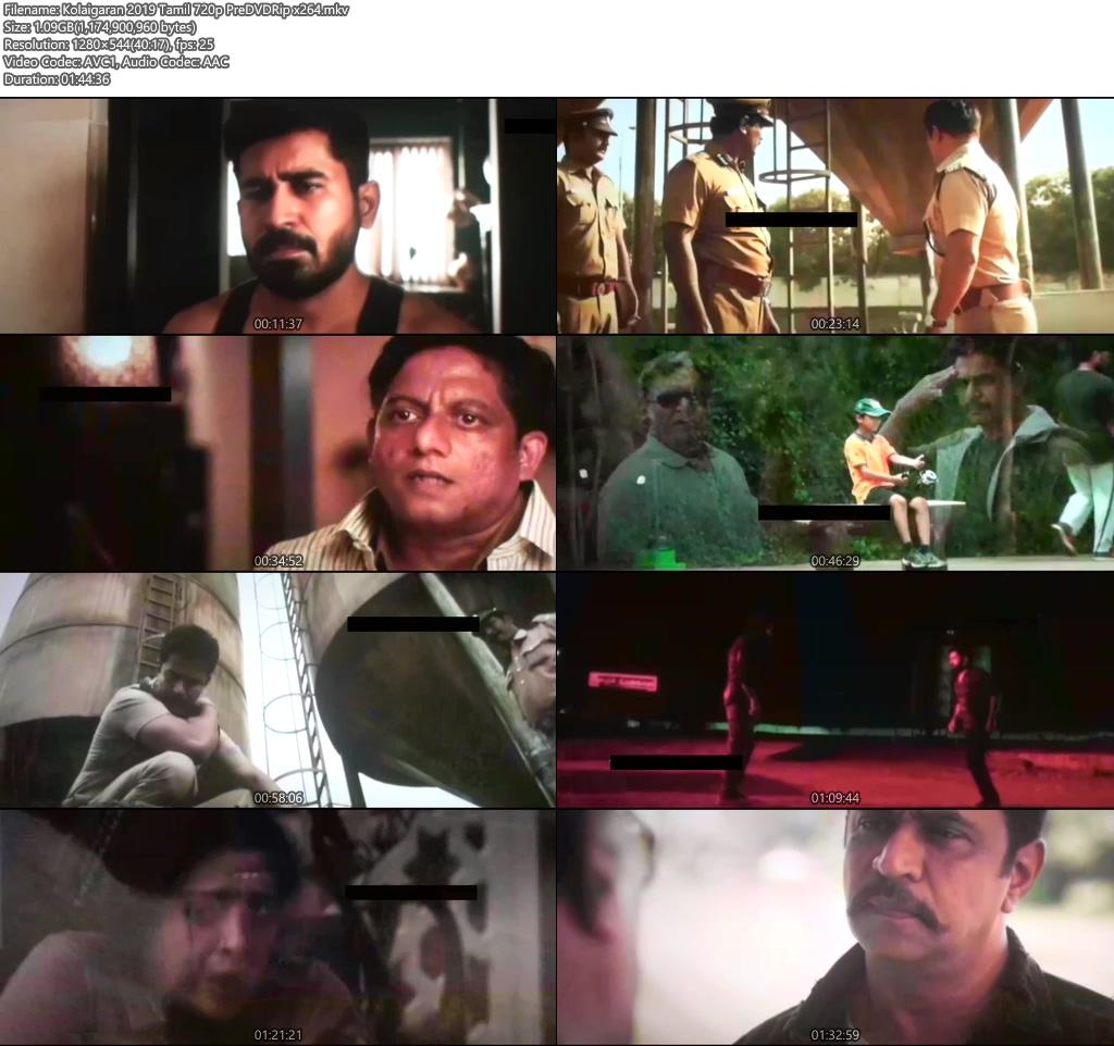 Kolaigaran 2019 Tamil 720p PreDVDRip x264 | 480p 300MB | 100MB HEVC Screenshot